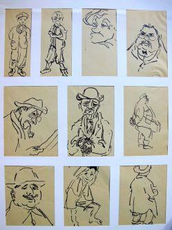 10 Portraits und Figuren, 1936, Rohrfeder, jeweils 13 x 16 cm