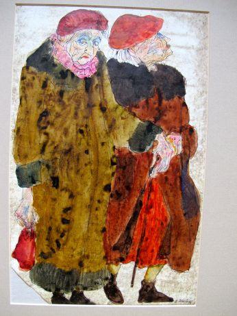 Alte Damen, 1978, Kuli und färbige Tinte, eingestrichener Grund, 20 x 32 cm