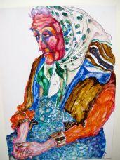 Alte Frau mit Kopftuch, 1987