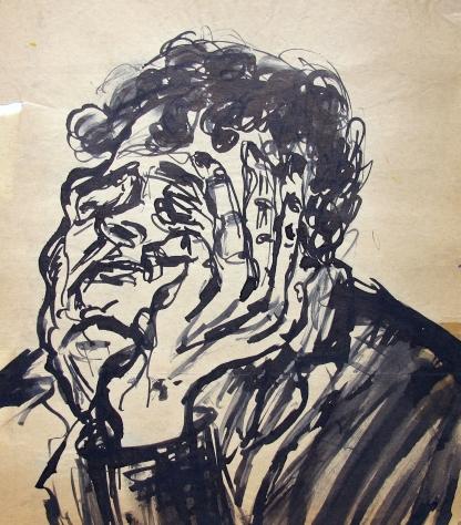 Denker, 1938, Tuschzeichnung, 25 x 30 cm