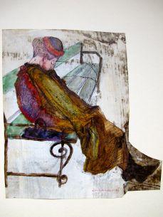 Frau alleine auf Parkbank, 1964, KUli, Mischtechnik, eingefärbte Grundierung, 27 x 29 cm