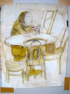 Frau lesend bei einem Glas Wein, 1968, KUli und Tinte auf eingefärbtem Grund