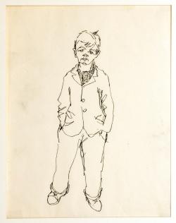 Knabe, 1938,Tuschezeichnung, 18,5 x 24 cm