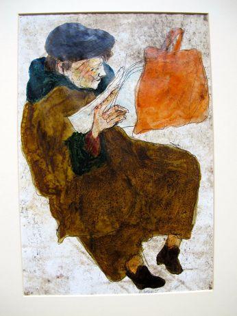 Lesende Frau, 1968, Kugelschreiber und Tusche auf Papier, 20,5 x 19,5 cm