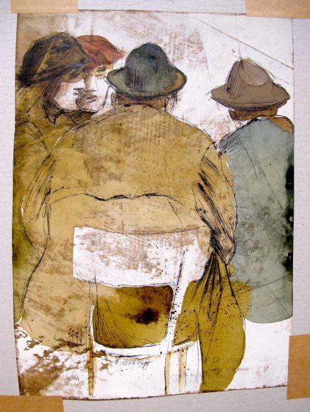 Sitzende Männer, 1959, Kuli und Tinte auf eingestrichenem Grund, 20 x 29 cm