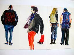 U-Bahn-Zeichnungen, Menschen, 1985, Mischtechnik